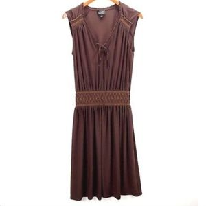 Dresses & Skirts - Adriana Papell Sz 8 Brown Embroidered A Line Dress